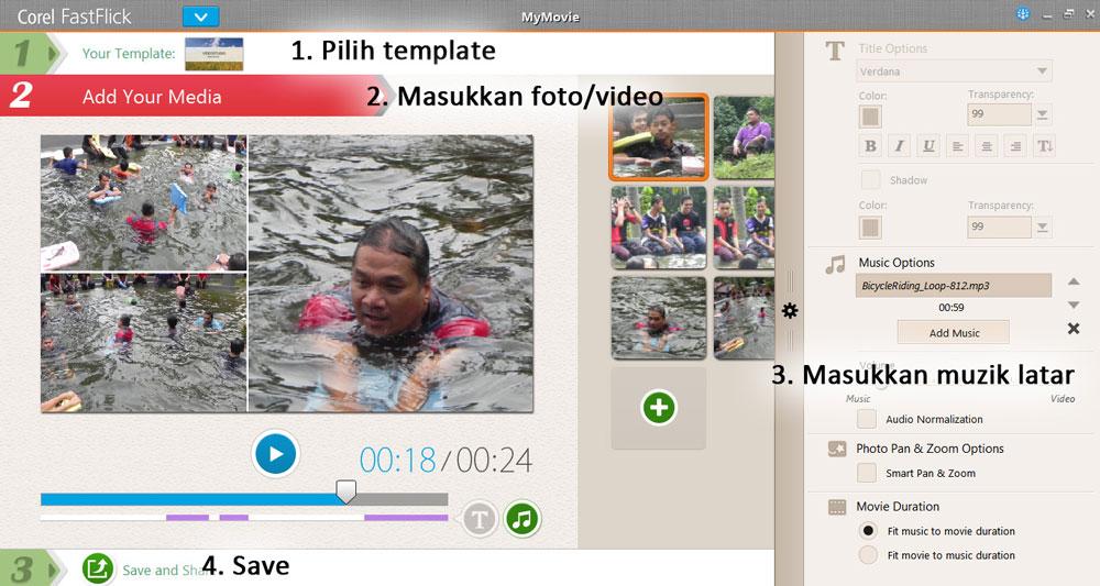 Buat video mudah menggunakan Corel FastFlick